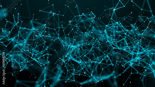 Digital plexus of glowing lines and dots. Abstract background. 3D rendering. Network.