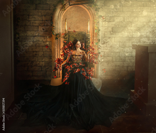Fotografia, Obraz gothic dark queen sits in castle on golden throne
