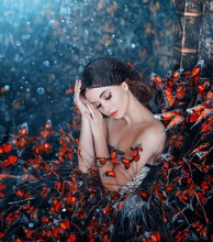 Sleeping Beauty Portrait. Young Brunette Woman, Creative Gentle Makeup, Fashion Vintage Glamorous Collected Hairstyle. Brunette Girl. Fantasy Dress With Butterflies. Blue Orange Art Color Photography