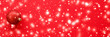 Christmas baubles on red background with snow glitter, luxury winter holiday card
