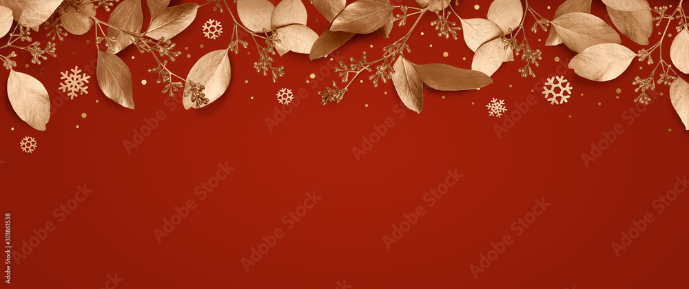 Fototapety, obrazy: Red Christmas holiday background. Copy space for text with a garland of golden leaves and snowflakes. Design element for Christmas and New Year cards, banners. Top view. 3d illustration.