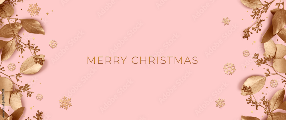 Fototapeta Christmas banner with golden leaves and snowflakes on a pink background. Design element for New Year cards. Template of a greeting poster for the winter holidays. 3d illustration. Top view.