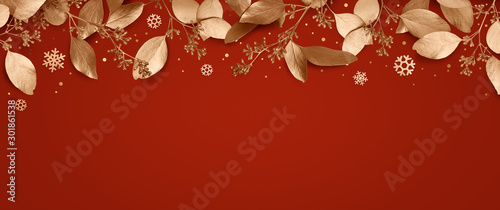 Obraz Red Christmas holiday background. Copy space for text with a garland of golden leaves and snowflakes. Design element for Christmas and New Year cards, banners. Top view. 3d illustration. - fototapety do salonu