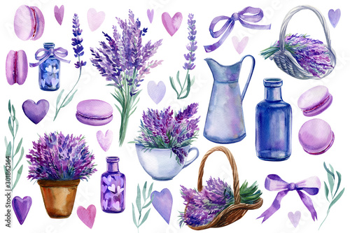 Fototapeta set of elements of lavender flowers on an isolated white background, a basket with lavender, vase, bottle, hearts, bouquet, macarons, watercolor illustration, hand drawing obraz