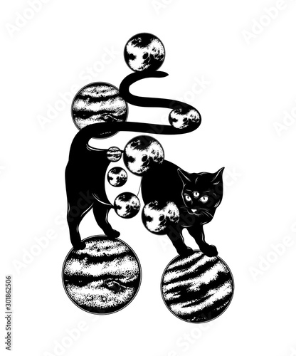 Fotografia Vector hand drawn illustration of cat with three eyes and planets isolated
