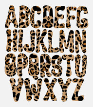 Vector Hand Drawn Leopard Font . Creative Type For Card, Poster, Banner, Print For T-shirt.