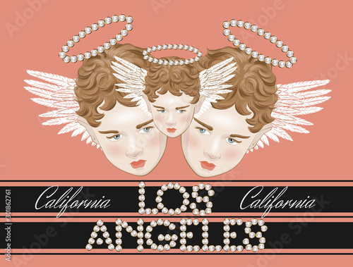 Los Angeles. Vector hand drawn illustration of cupids with inscription of pearls isolated. Creative artwork. Template for card, poster, banner, print for t-shirt, pin, badge, patch.