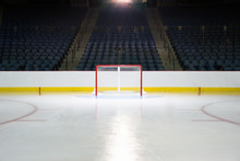An Empty Net In A Hockey Arena