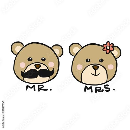 Fotografie, Obraz  Mr. and Mrs. Bear cartoon vector illustration