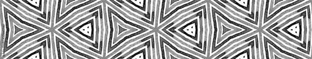 Black and white Seamless Border Scroll. Geometric