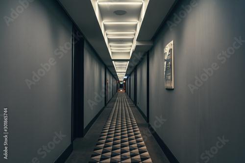 Pinturas sobre lienzo  Dark corridor with illumination on ceiling