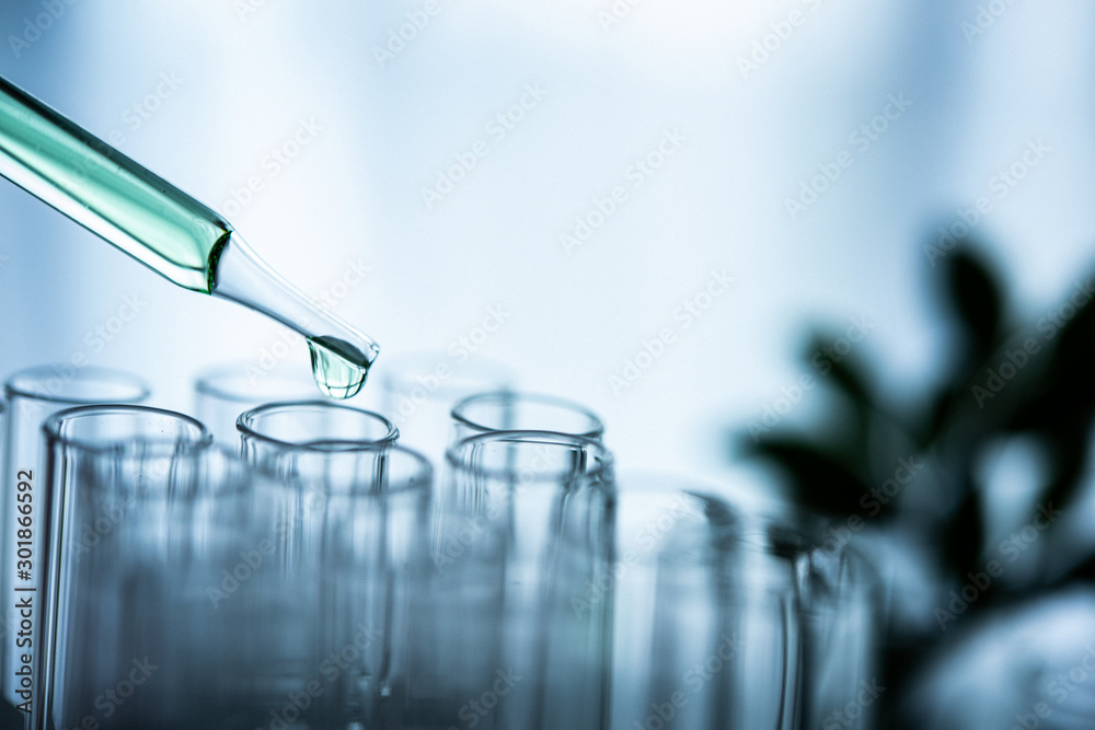 Fototapety, obrazy: Dropper over test tube dropping sample chemical into sample herbal plaint , biotechnoloy research concept.Natural extracts