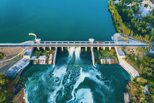 Aerial View Of Dam At Reservoi...