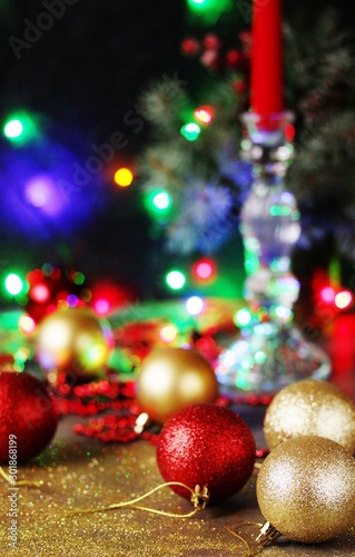 Fototapety, obrazy: Festive background Christmas and New Year with shiny Christmas balls, lights of garlands and glitter.  copy space. space for text