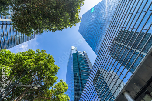 Photo modern office building with green trees.