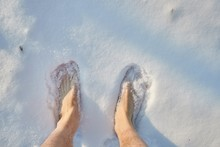 Barefoot In Snow, Standing Or Walking, First Person Point Of View