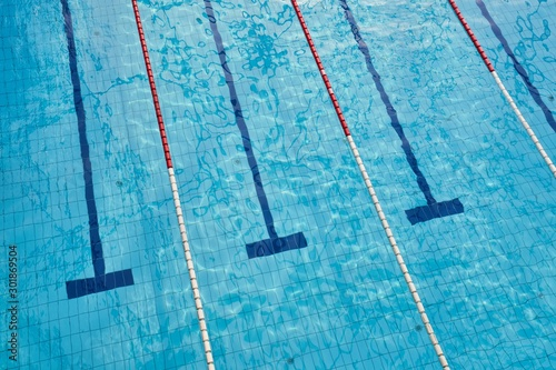 Swimming pool with empty lanes Canvas Print