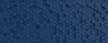 Hexagonal Dark Blue Navy Background Texture Placeholder, 3d Illustration, 3d Rendering Backdrop