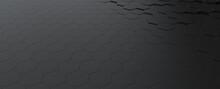 Hexagonal Dark Grey, Black Background Texture, 3d Illustration, 3d Rendering