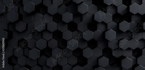 grey hexagons modern background 3d render 3d illustration Canvas Print