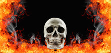 Human Skull In Fire Flame