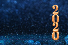 2020 Golden New Years 3d Rendering At Abstract Sparkling Dark Blue Glitter Perspective Background Studio.luxury Holiday Backdrop.mock Up Banner For Display Of Product.celebration Festive Greeting Card