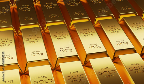 Beautifully arranged gold bars arranged in abundance,3D render Wallpaper Mural