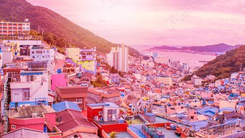 Foto auf Gartenposter Rosa Lovey Panorama scenes of Gamcheon Culture Village at sunset, Busan, Korea