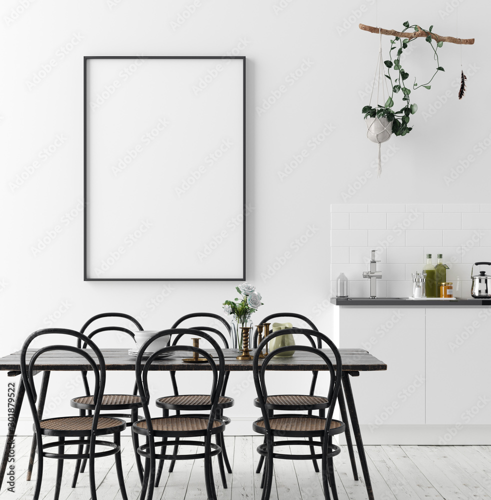 Fototapety, obrazy: Poster mock up in rustic dining room, Scandinavian style, 3d render