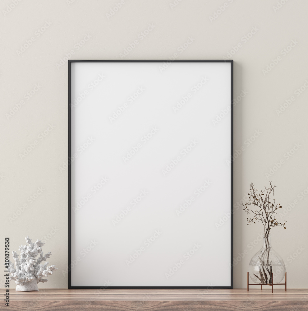 Fototapety, obrazy: Poster mock up with decor close up, 3d render