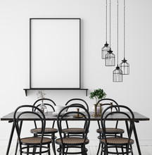 Poster Mock Up In Rustic Dining Room, Scandinavian Style, 3d Render