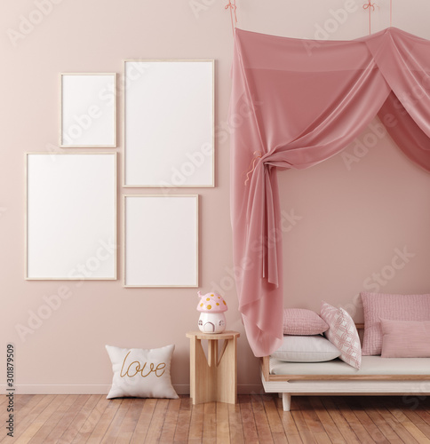 Mock up poster frame in children room interior background, 3D render