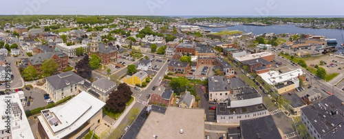 Aerial view of Gloucester City and City Hall panorama, Cape Ann, Massachusetts, MA, USA Slika na platnu