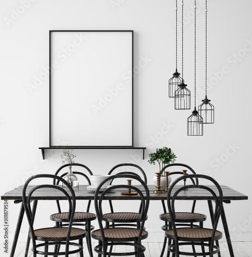 Fotografía Poster mock up in rustic dining room, Scandinavian style, 3d render
