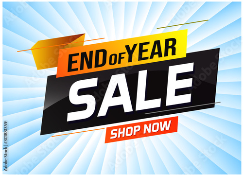 Cuadros en Lienzo  End of year Sale word concept vector illustration with lines and 3d style, landi