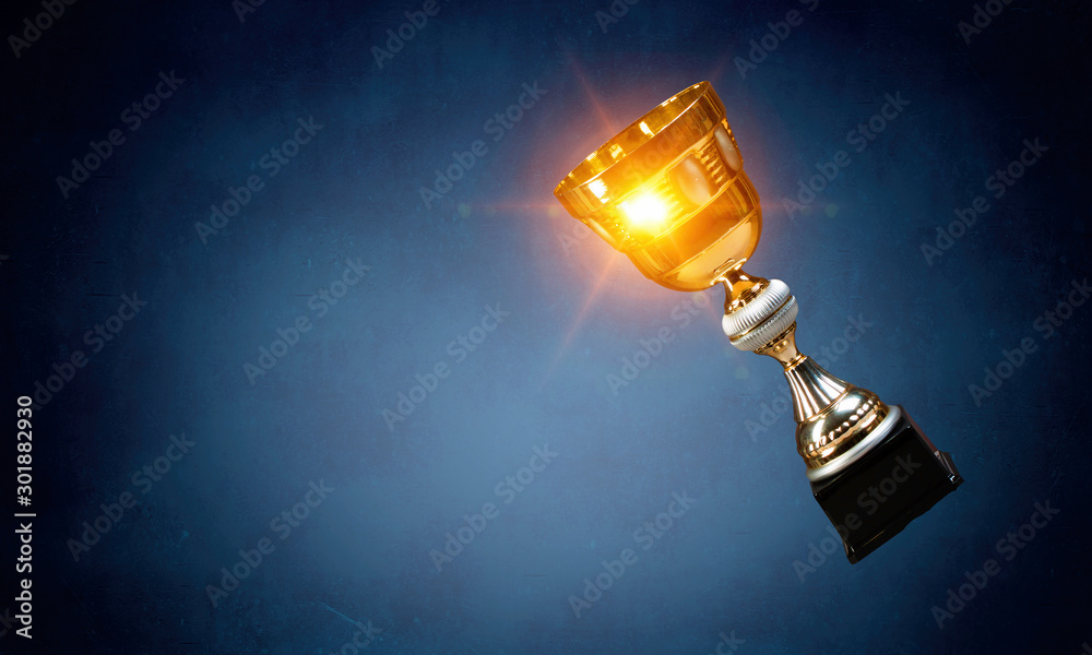 Fototapety, obrazy: Golden cup on dark . Mixed media