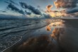 canvas print picture - Beautiful shot of the sunset reflecting in the sea
