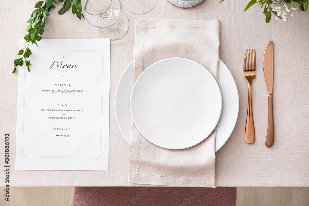 Fototapety, obrazy: Beautiful table setting for wedding celebration in restaurant