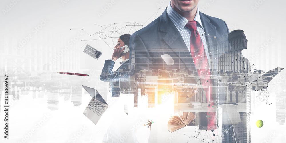 Fototapeta Business team concept. Mixed media - obraz na płótnie