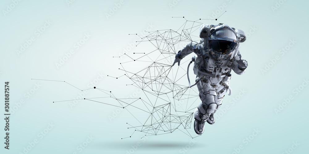 Fototapeta Spaceman running fast. Mixed media