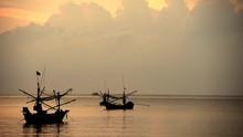 Silhouettes Fisherman Working ...