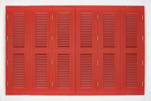 Vintage Red Wood Panel Window ...