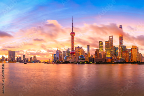 Foto auf Gartenposter Koralle Sunset architectural landscape and skyline in Shanghai