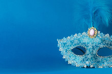 Blue Carnival Mask Isolated On...