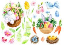 Set Of Elements, Bunny, Eggs, ...