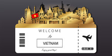 Vietnam With Gold Travel Postcard, Poster, Tour Advertising Of World Famous Landmarks In Paper Cut Style. Vectors Illustrations