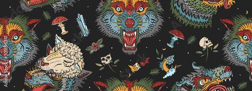 Wolf head, dark seamless pattern. Old school tattoo art. Aggressive wolves tr...