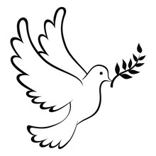 Peace Dove Icon With Leaf Coloring Page