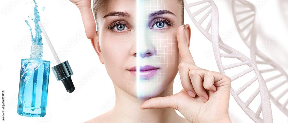 Fototapeta Scanning of woman face among DNA stems near blue bottle.