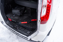 Winter Time Brush To Clean Snow In Car Trunk